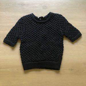 T by Alexander Wang | Black Crochet Knit Top